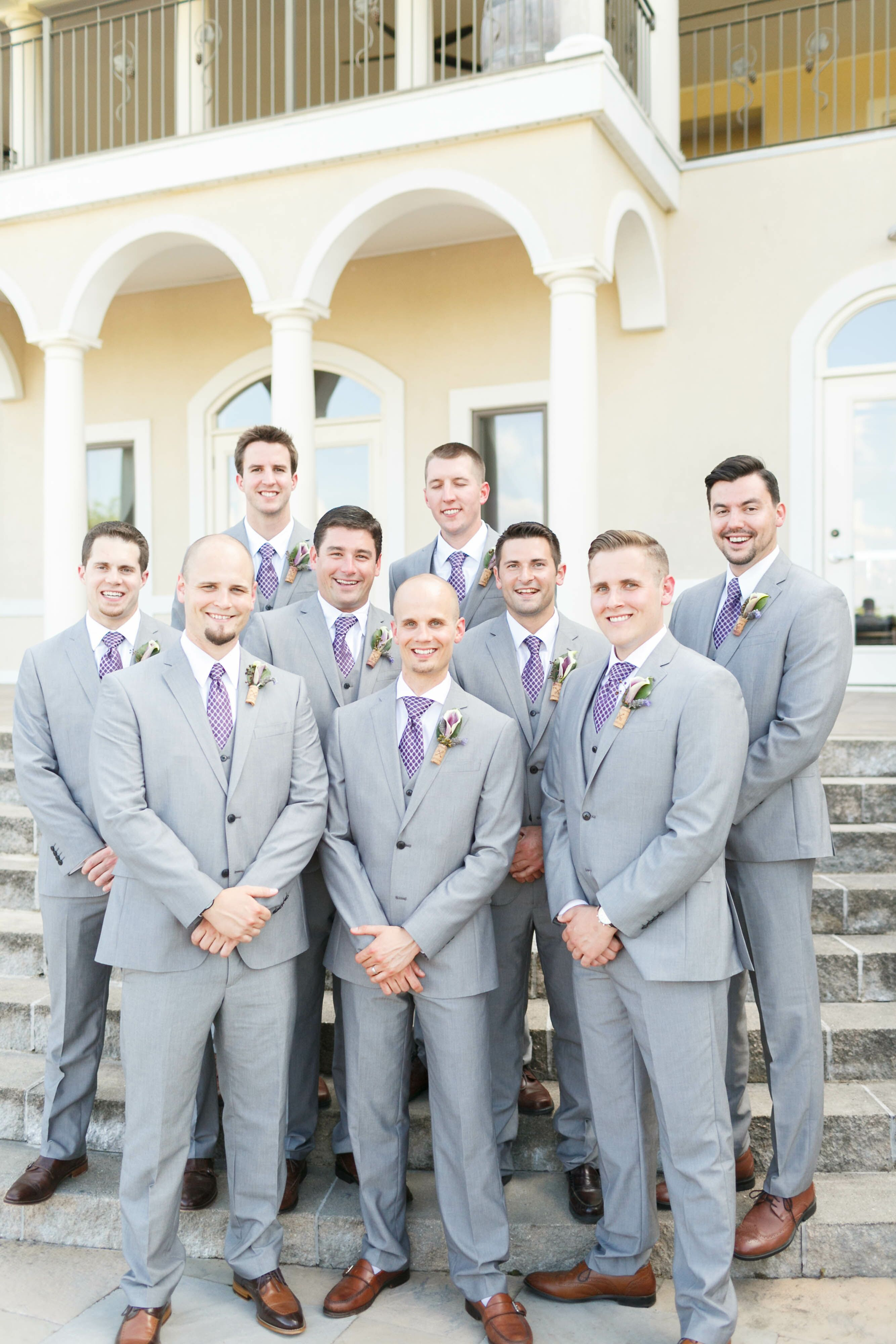 Gray And Purple Groomsmen