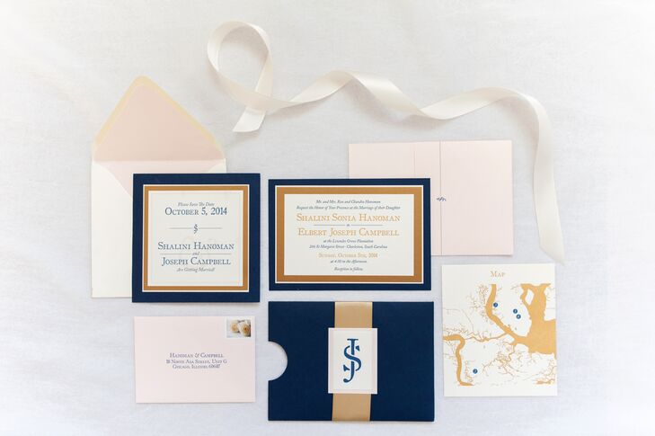 "The bride's favorite wedding detail was her custom navy, gold and blush stationery suite. ""We worked with Double Trip Press to come up with a custom design that kept everything consistent throughout all of our paper goods,"" says Shalini. """