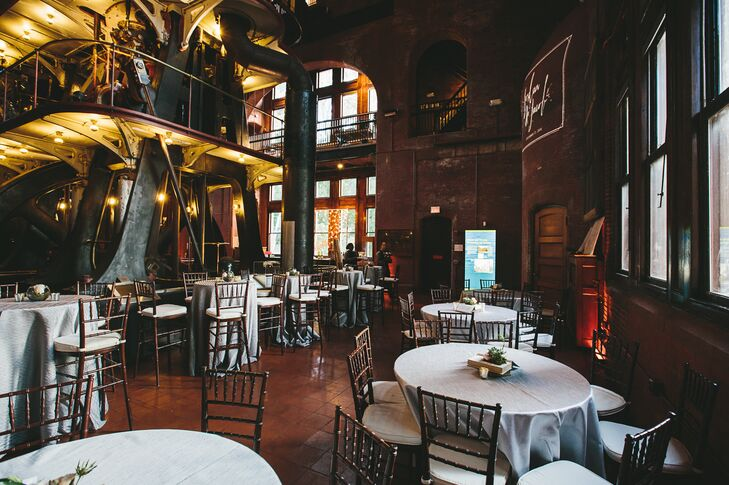 Jordan and Jacob held their reception at  Metropolitan Waterworks Museum in Chestnut Hill, Massachusetts. The venue offered a moody, industrial-chic atmosphere.