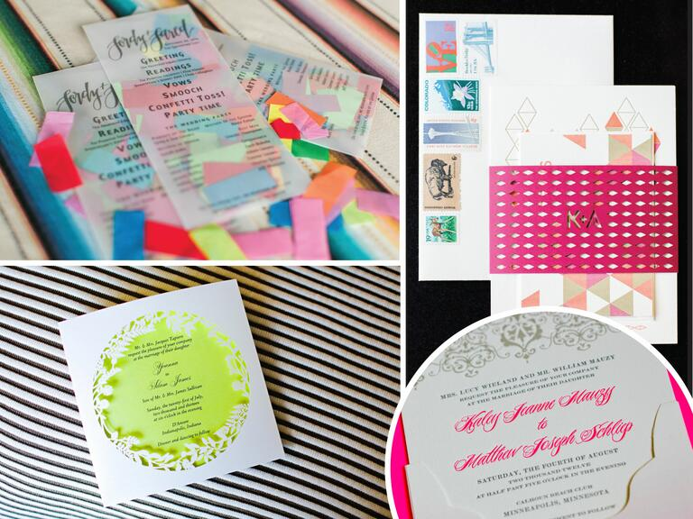 Neon accents in wedding stationery