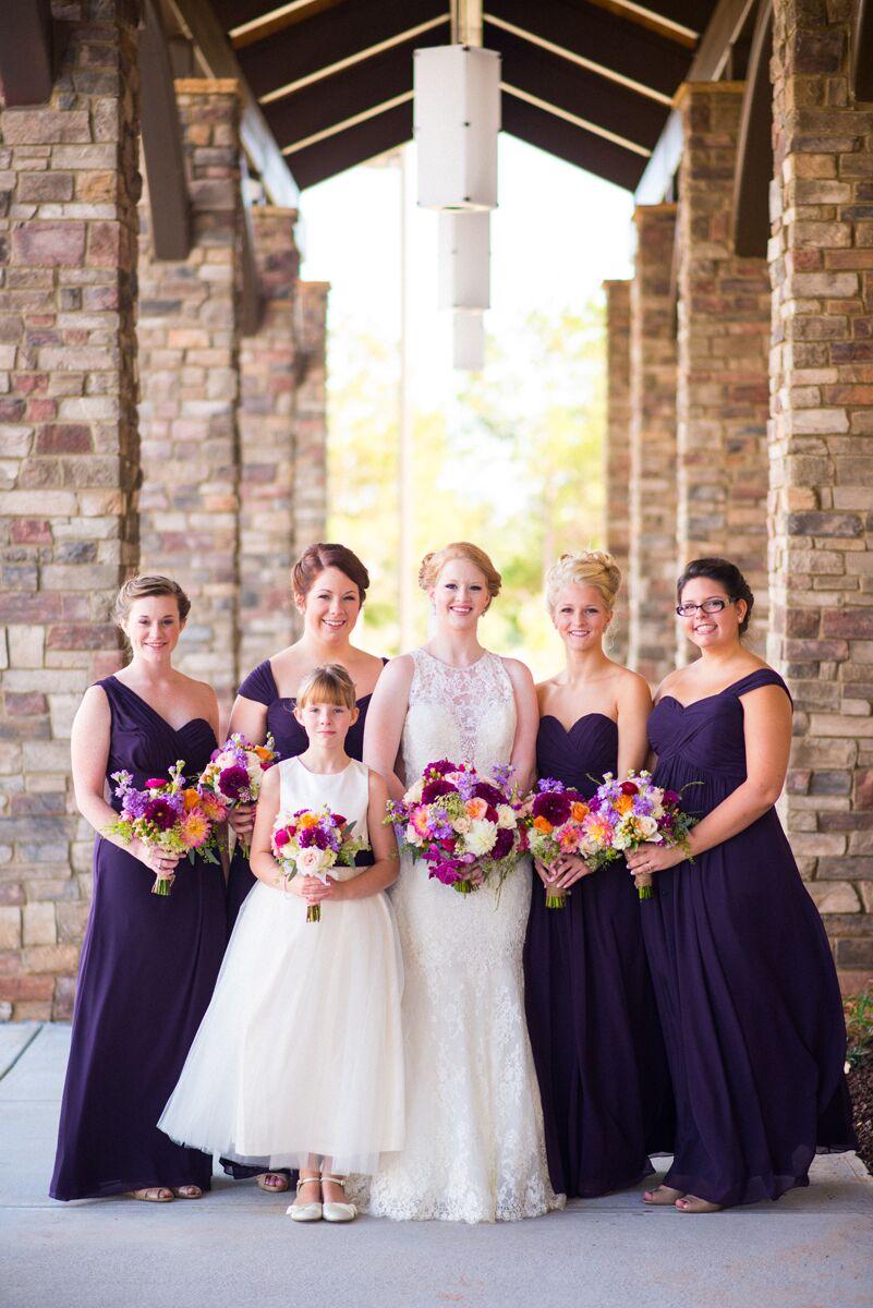 Eggplant Purple Bill Levkoff Bridesmaid Dresses
