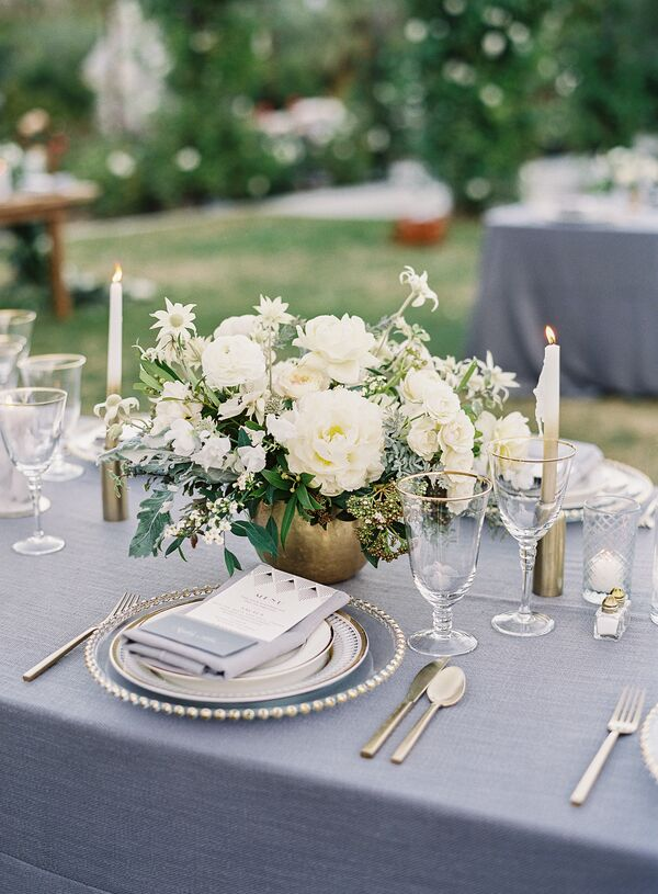 Gold wedding flower arrangements sophisticated gray and gold tablescapes mightylinksfo