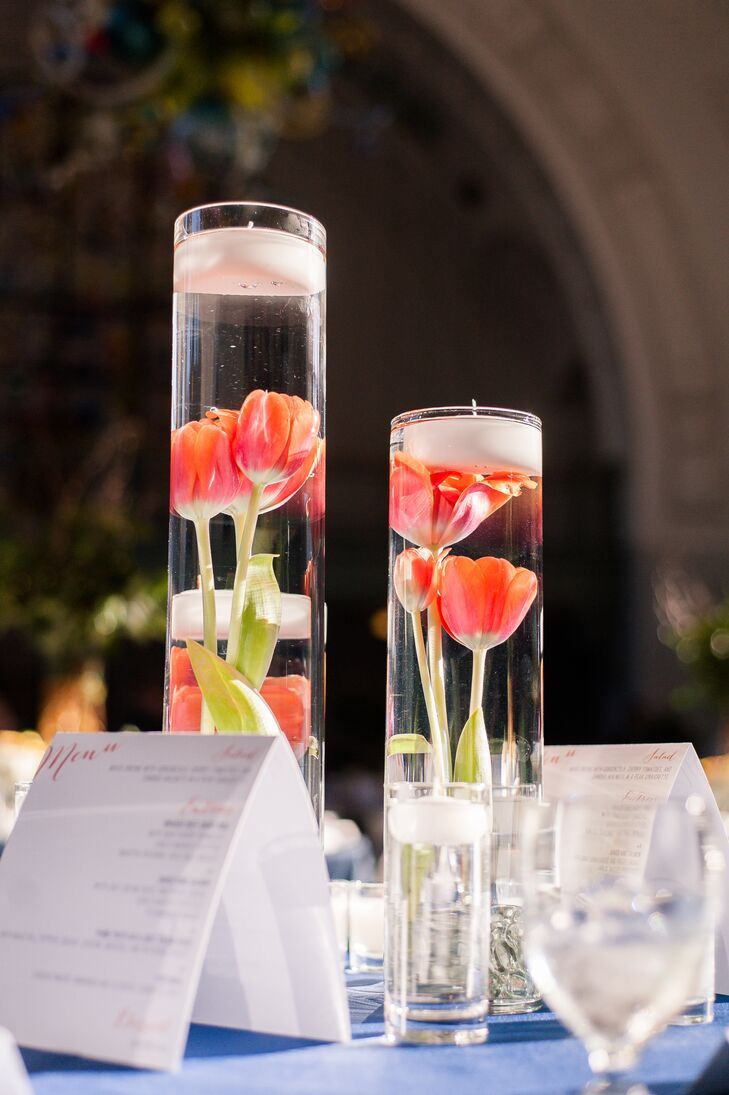 Tulip And Candle Centerpieces