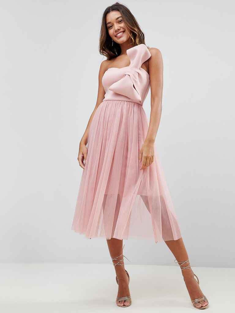 blush bridesmaid dress with bow