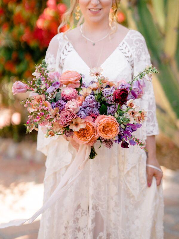 Purple wedding flower arrangements textured coral and lavender mixed floral bouquet mightylinksfo