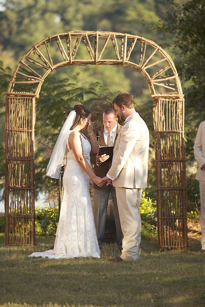 Geometric Rustic Wooden Wedding Arch