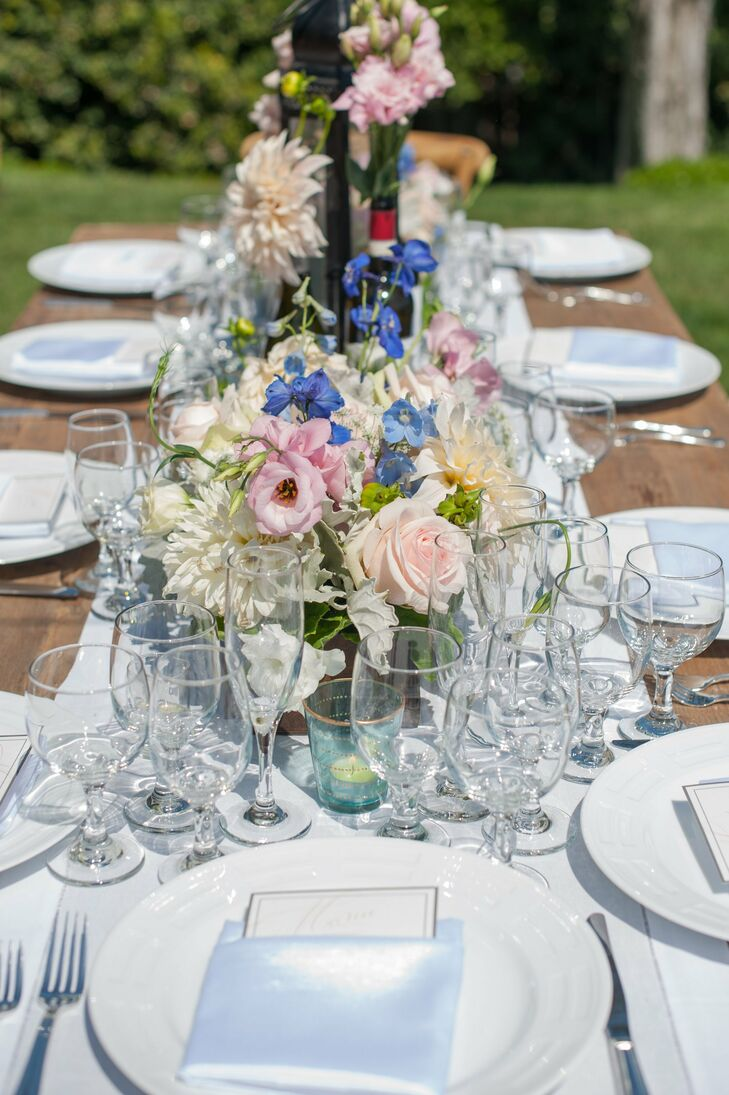 Blue and pink floral centerpieces for Pink and blue flower arrangements