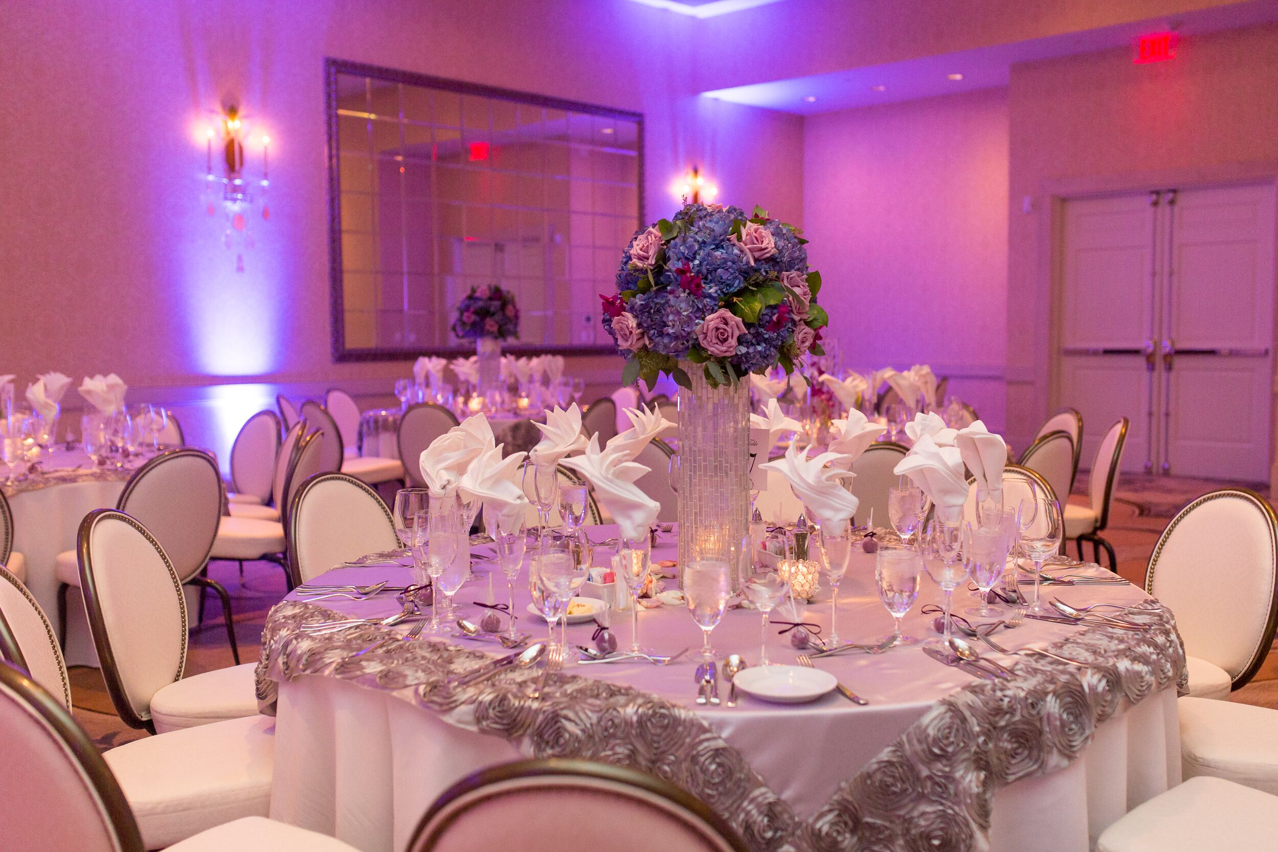 Elegant Silver Dining Tables with Purple Florals