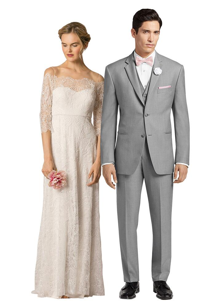romantic lace wedding dress and gray suit