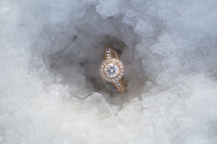 """Ethen and I had never even looked at or even talked about rings, so all ring credit goes to him,"" says Heather. The ring from J. Brooks has a 0.8-carat diamond with a halo set in rose gold."