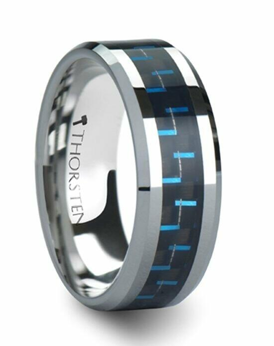Larson Jewelers AUXILIUS Tungsten Carbide Ring with Black & Blue Carbon Fiber Inlay - 6 mm & 8 mm Wedding Ring photo
