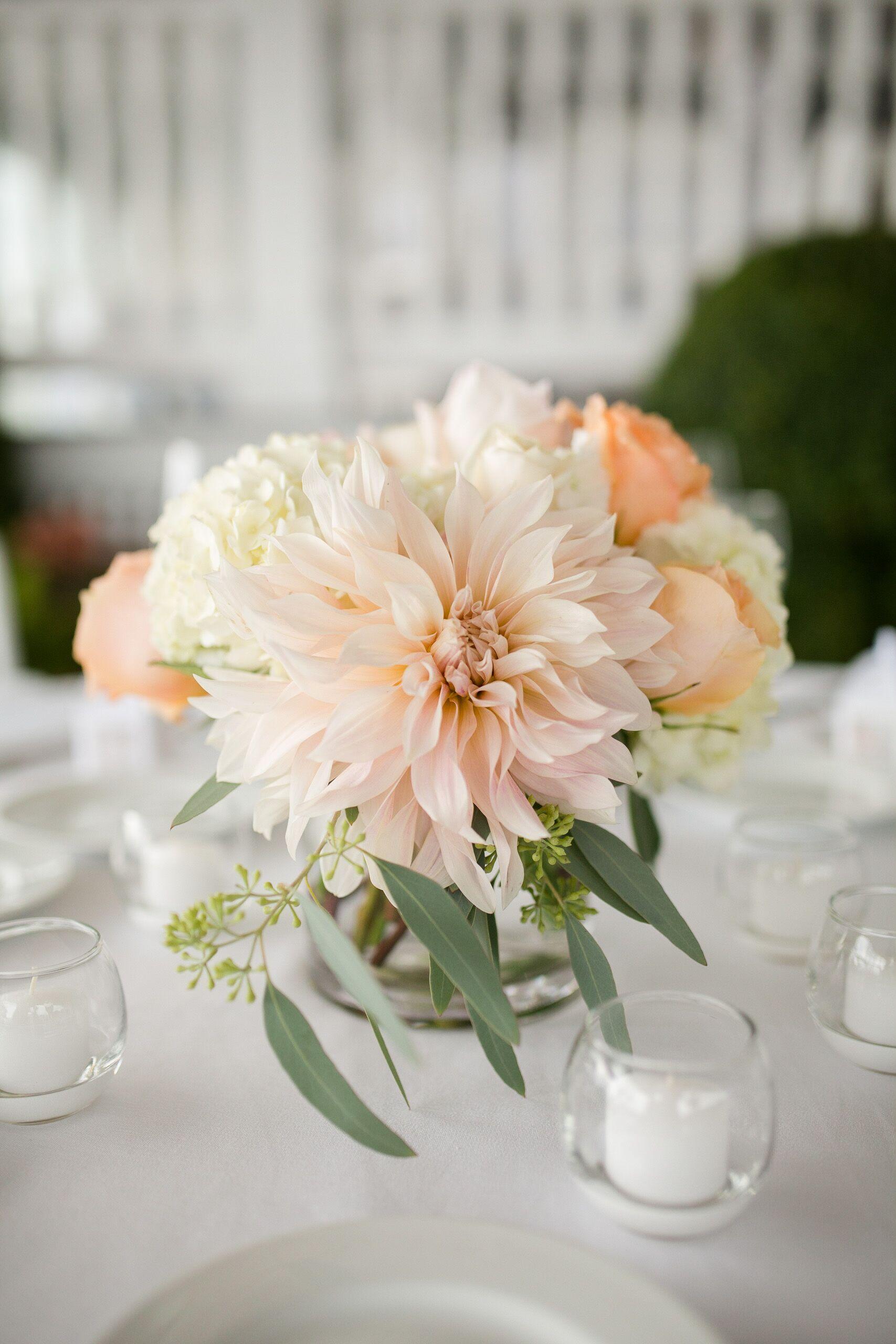 Romantic  Pastel Dahlia And Rose Centerpieces