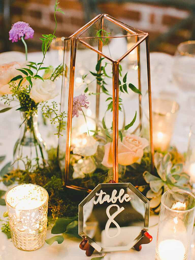 Rose terrarium centerpiece