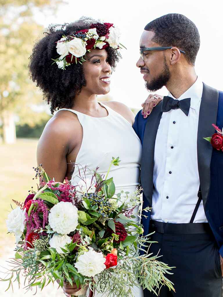 Natural hair with oversized flower crown wedding day hairstyle