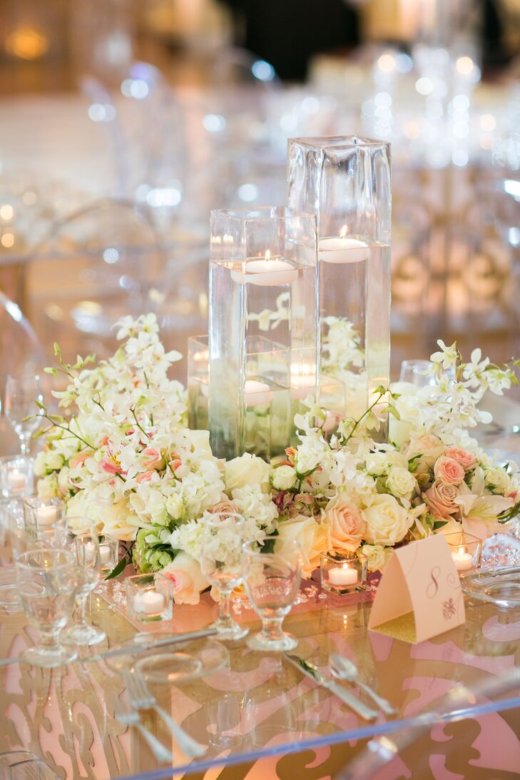 flower wreath floating candle centerpieces