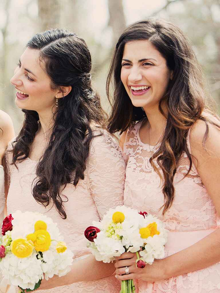 Long loose curls for a messy bridesmaid hairstyle