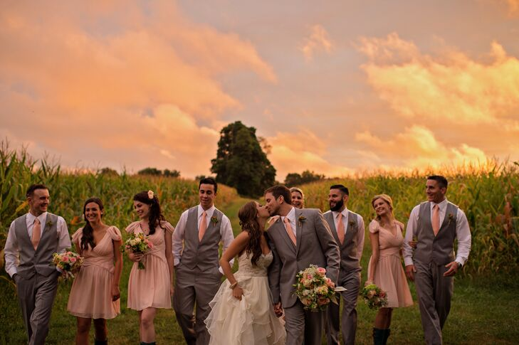 The Pink Wedding Party at Sunset at Greenhill Farm