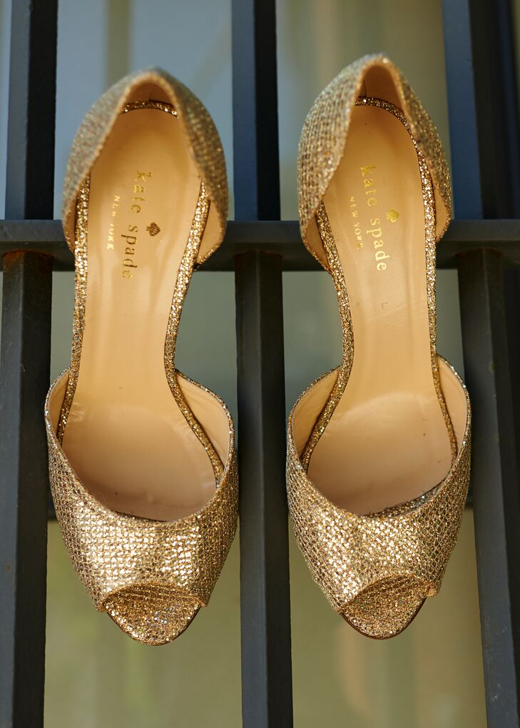 The bride wore gold, peep-toe heels courtesy of Kate Spade.