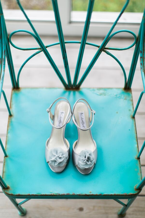 Pale Gray Bridal Shoes with Fabric Rosette