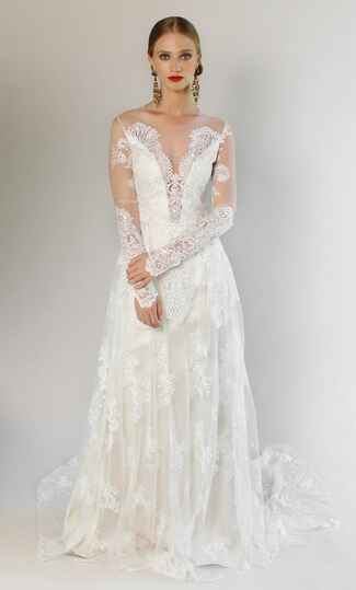 Claire Pettibone Spring 2017 embroidered tulle long sleeves and illusion front wedding dress and back with flowing skirt with cathedral length train