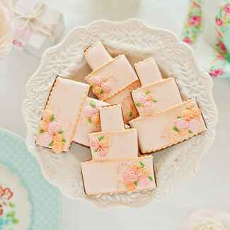 Pink wedding cake cookies at bridesmaid luncheon