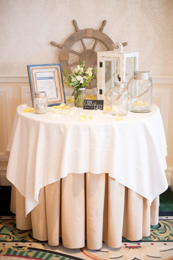 A nautical wedding at the molly pitcher inn in red bank for Wedding gift decoration