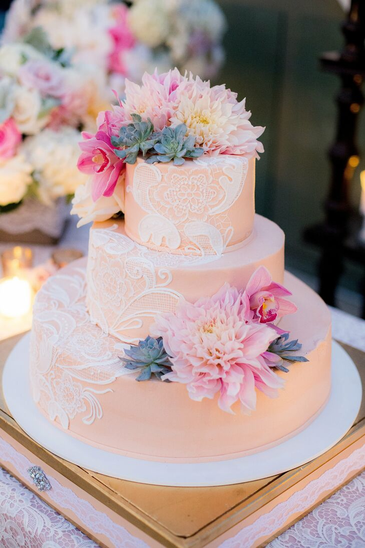 Blush Buttercream Cake with Lace Accents
