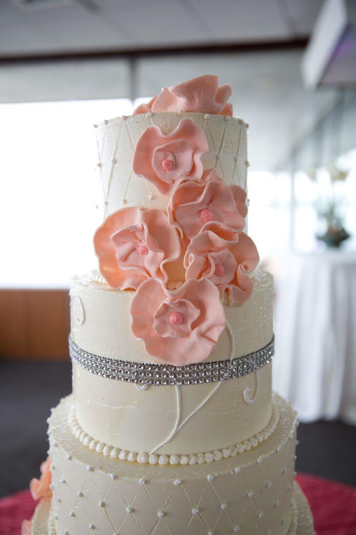 Pink Fondant Wedding Cake Flowers