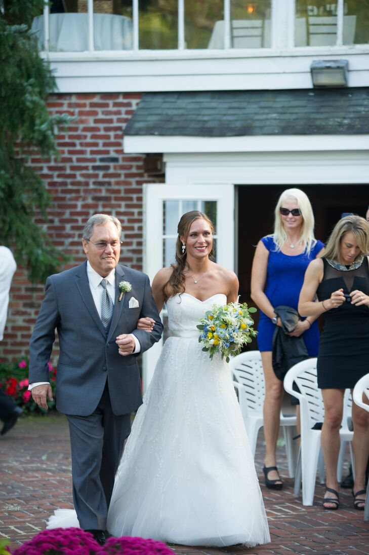 Traditional Bride and Father Processional at Outdoor Wedding