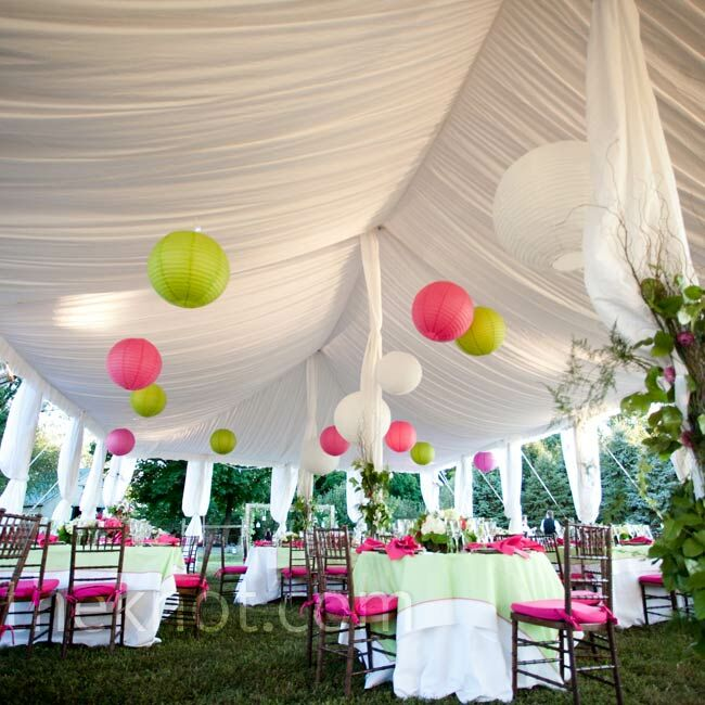 Paper lanterns hung from the tent's draped ceiling for a playful look.