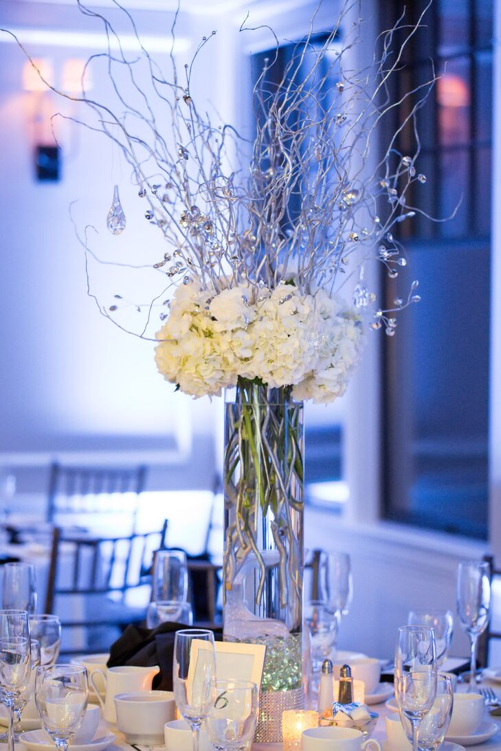 Tall hydrangea and branch centerpieces