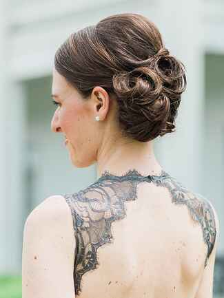 Messy pin curl updo idea for brides or bridesmaids