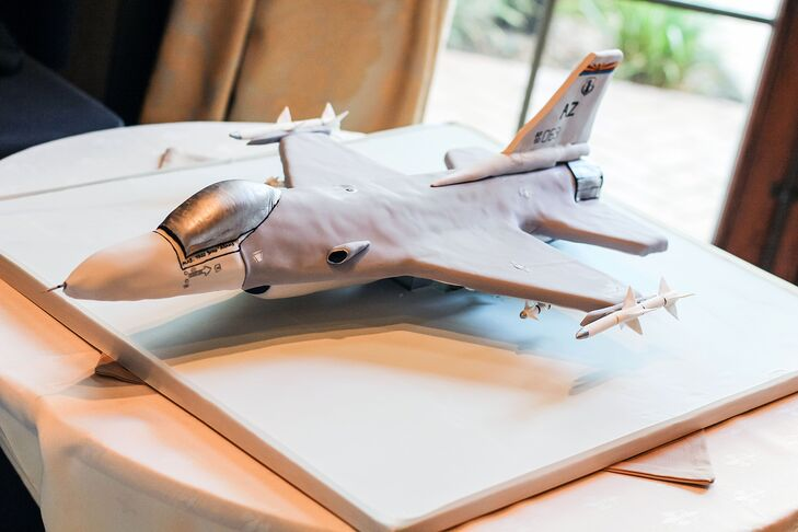 Todd's groom's cake was a military fighter jet, customized with his name.