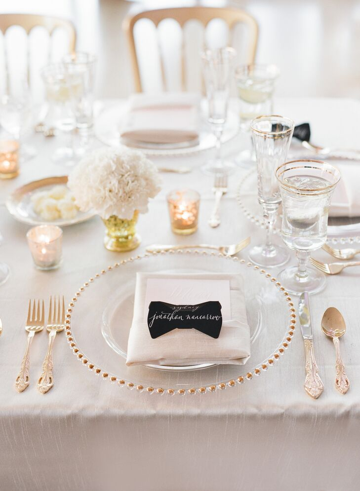 Black-and-White Bow Ties Place Cards