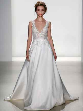 Kelly Faetanini Spring 2018 illusion beaded embroidered V-neck ball gown with mikado skirt