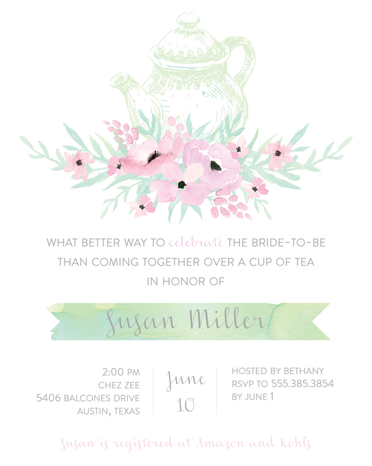 Tea Party Bridal Shower Invitation Wording  Bridal Shower Invitation Samples
