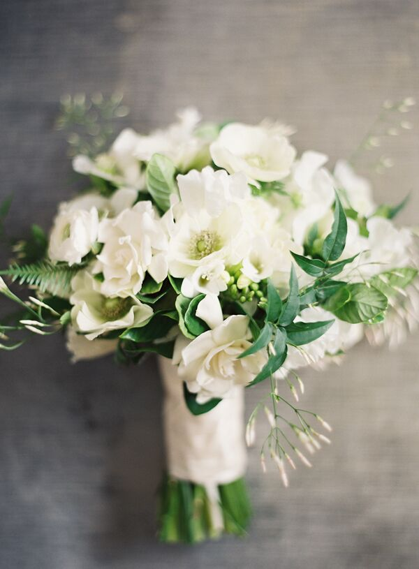 White Bridesmaid Bouquets With Garden Roses, Gardenias