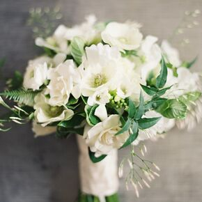 White Bridesmaid Bouquets With Garden Roses, Gardenias