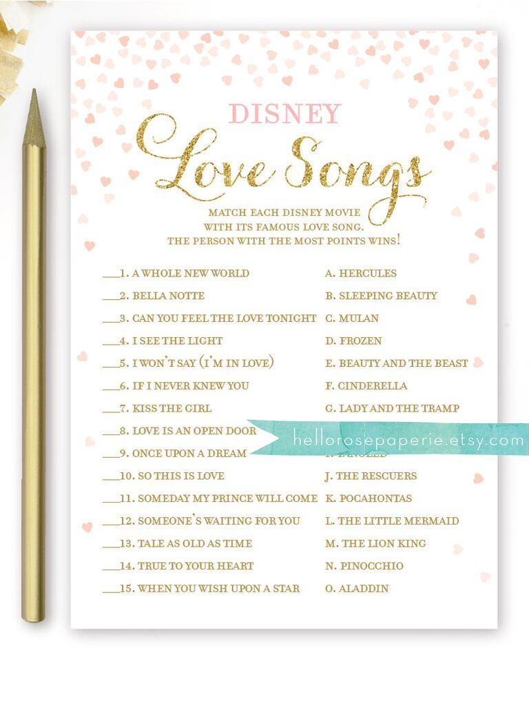 Disney Love Song Quiz Songs Bridal Shower