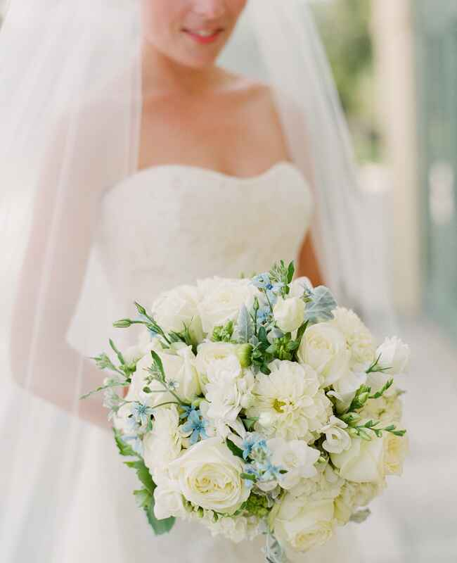 Blue and Ivory Wedding Bouquet | Jen Fariello Photography | Blog.TheKnot.com