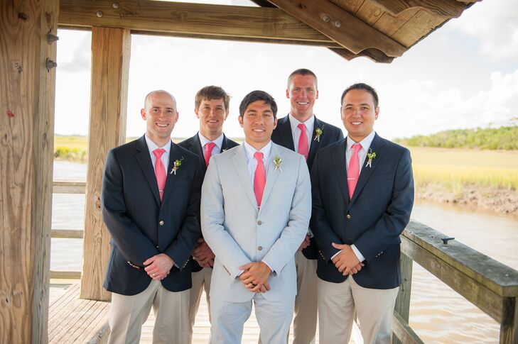 Navy Suit Jackets With Coral Ties