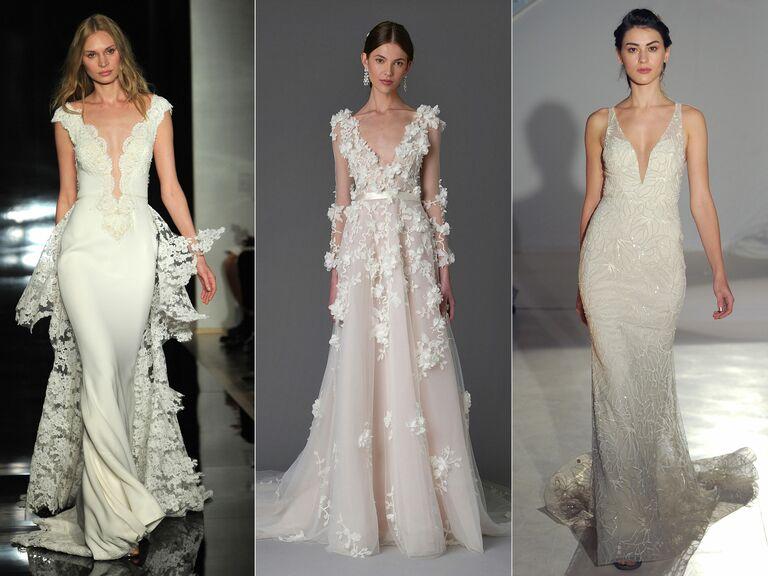 Reem Acra wedding dress, Marchesa wedding dress, Lazaro wedding dress