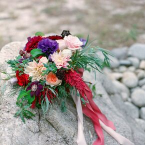 Purple Pink Red Bridal Bouquet Of Wildflowers