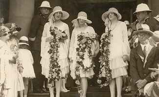 Bridesmaids Accessorized with Hats and Garlands