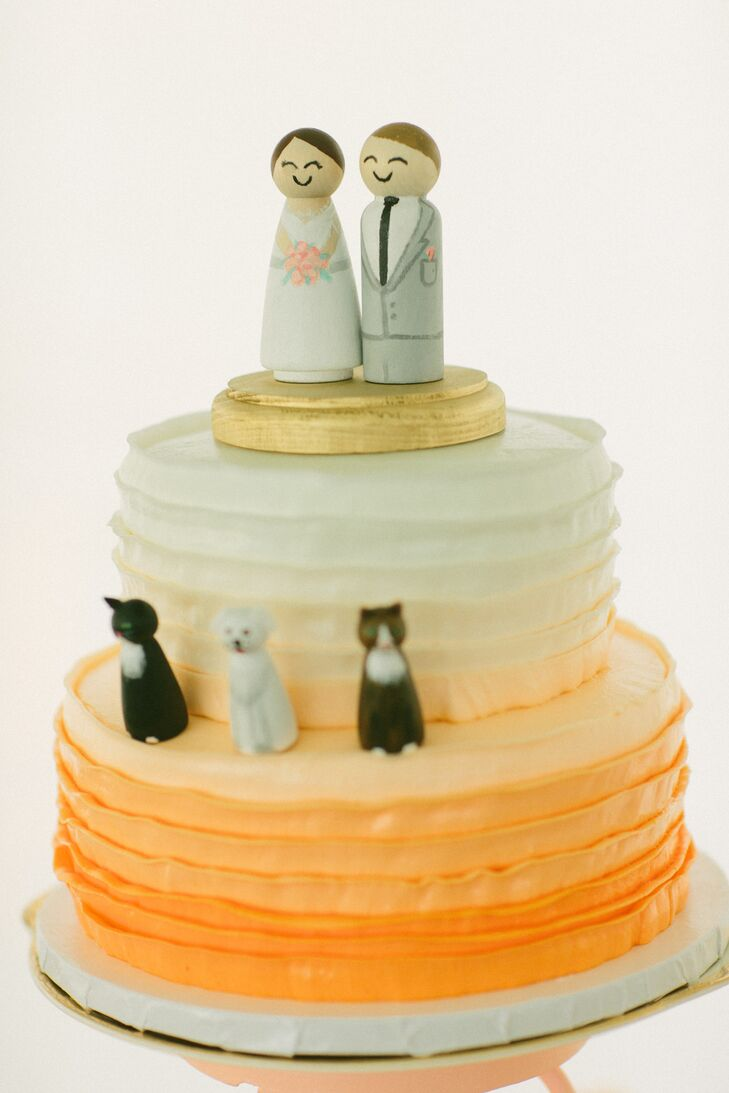 Ombre Wedding Cake with Wooden Bride, Groom and Cat Cake Toppers