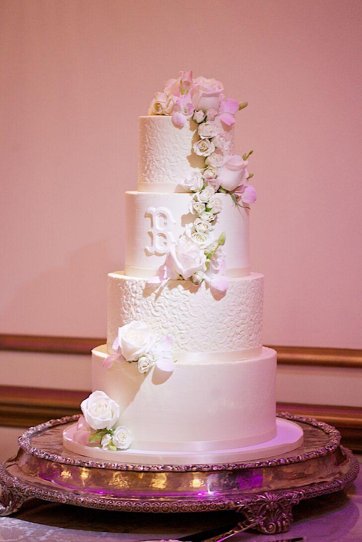 White Buttercream Wedding Cake with Cascading Roses