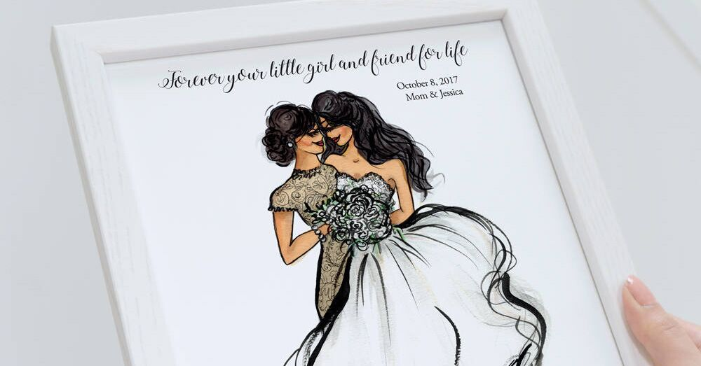bouquet custom wedding portrait parent hand drawn unique wedding gift for best friend daughter bride groom wedding shower