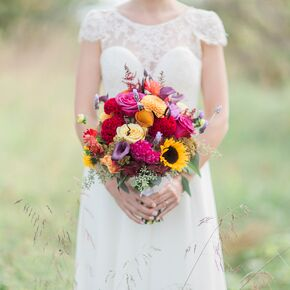 Sunflower wedding bouquets vibrant coxcomb calla lily and sunflower boquet junglespirit Image collections