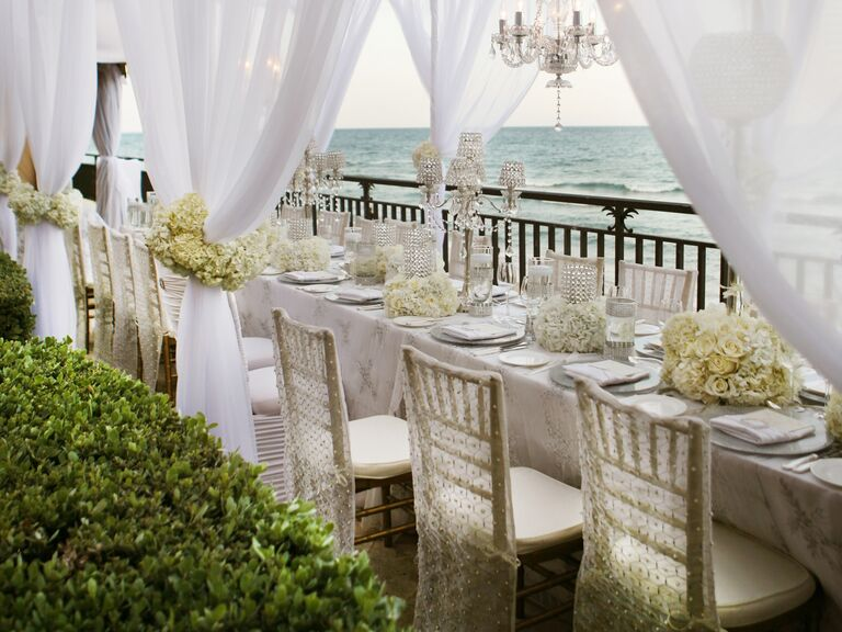 All White Table At Intimate Beach Wedding Reception