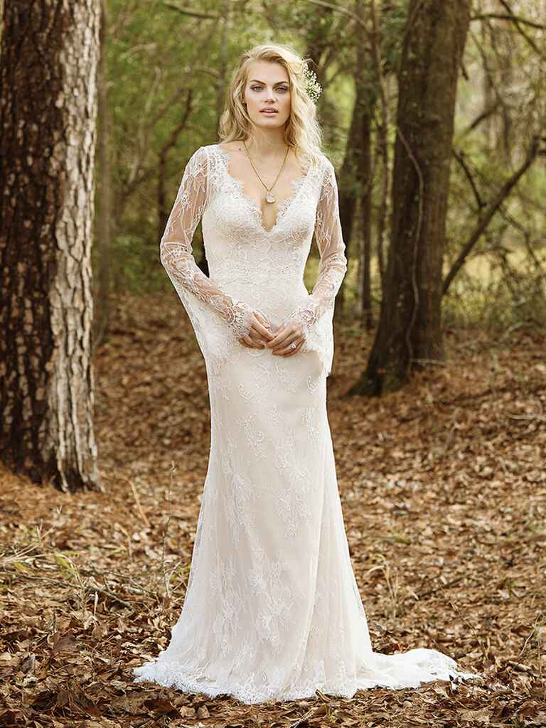 Lillian west spring 2017 bridal fashion week photos for Wedding dress bell sleeves